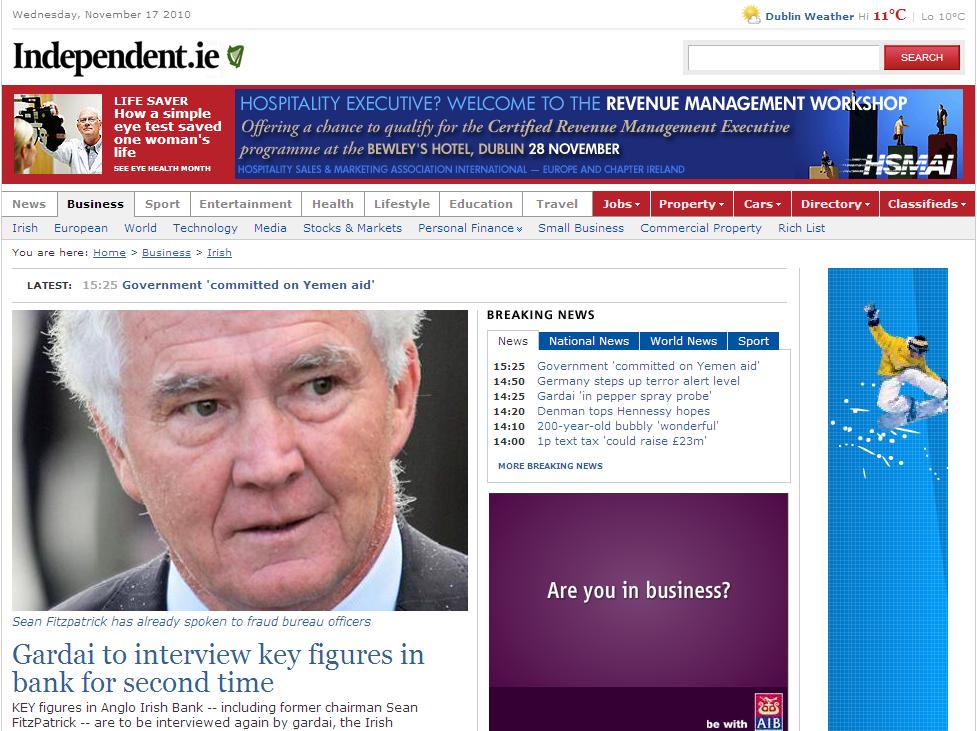 Independent.ie, med en av annonsene i header (klikk bildet for større versjon)