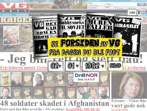 VG Netts forside mandag 3. januar 2011