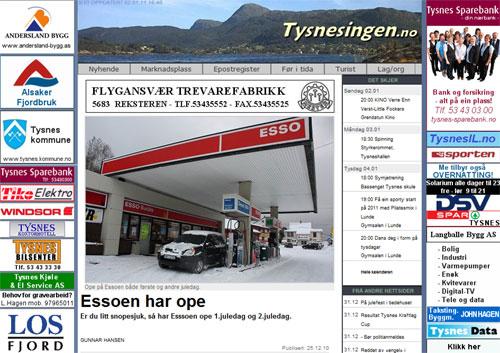 Essoen har ope (faksimile fra Tysnesingen.no)
