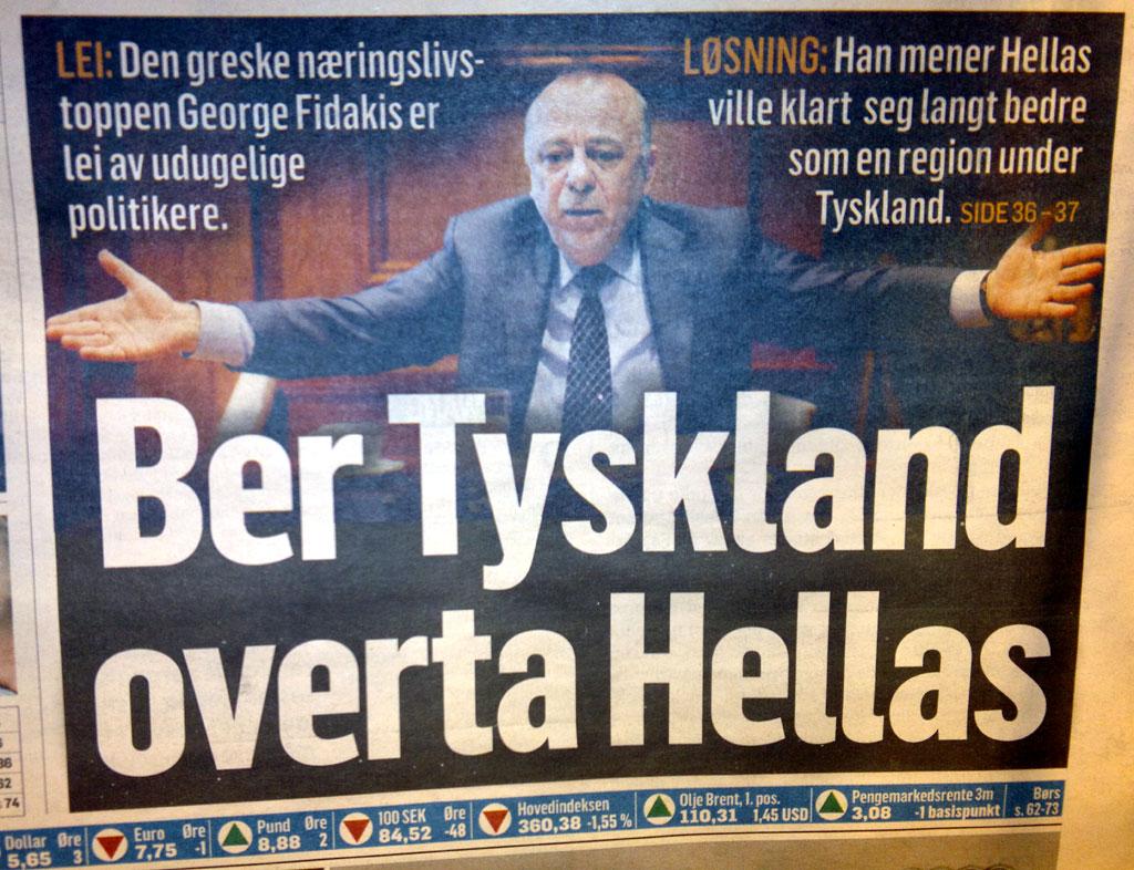 Ber Tyskland overta Hellas