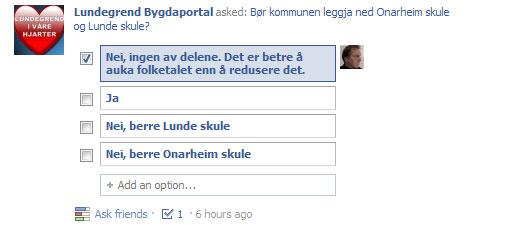 Facebook-poll om skolenedleggelse