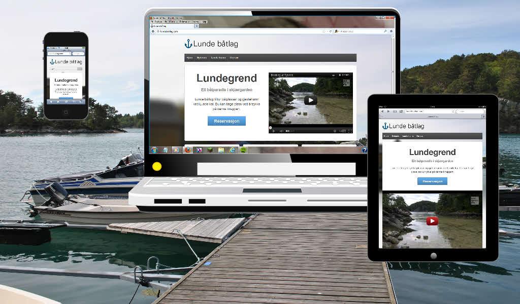 Lundebaatlag.com på tre forskjellige enheter