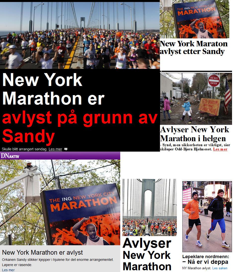 Men det verste av alt ... New York Marathon avlyst
