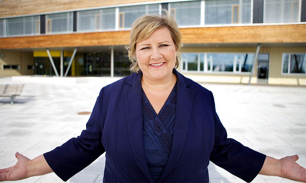 Høyres leder og statsministerkandidat Erna Solberg. Foto: Høyre/Flickr