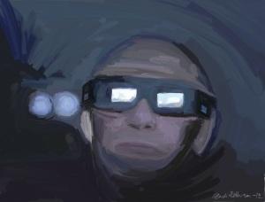 Vladimir Putin med 3D-briller (eget bilde).