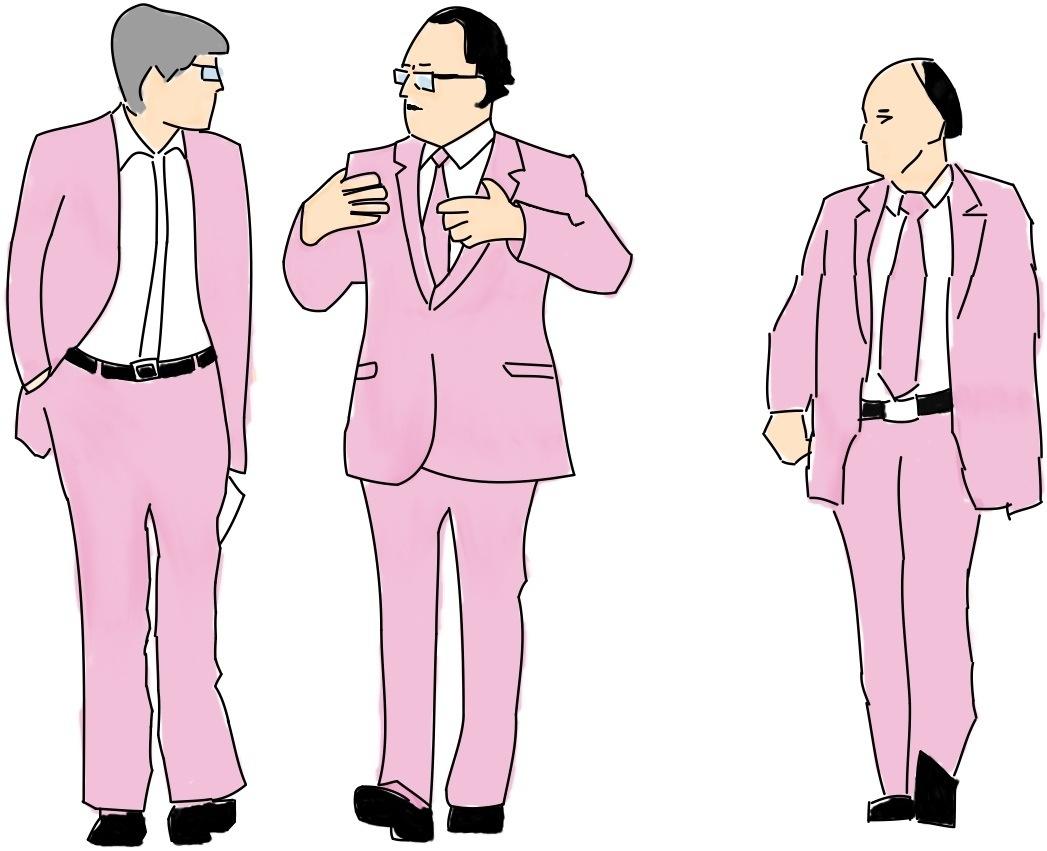 Arne Treholt, Genadij Titov og Aleksandr Lopatin i Wien (min illustrasjon).