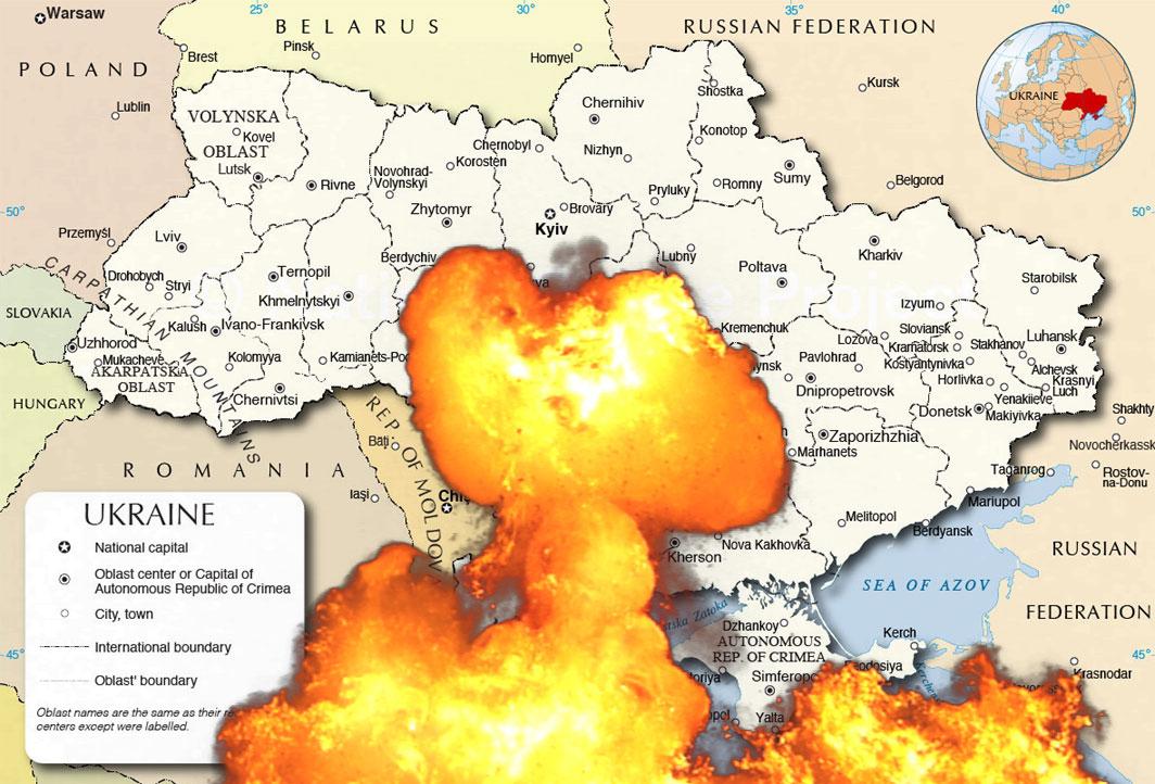 Ukraina i flammer