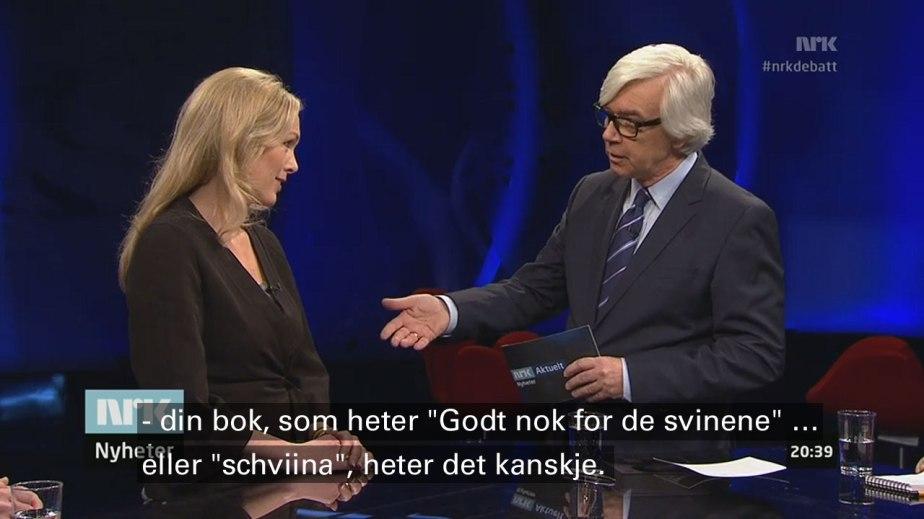 HP-sjef Anita Krohn Traaseth og programleder Ole Torp i NRK2s Debatten, mandag 17. mars 2014 (tekstingen, som er ordrett, er tilføyd av bloggeren selv).