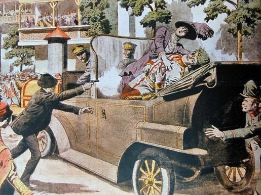 Den 19-årige gymnasiasten Gavrilo Princip avfyrer de fatale skuddene mot erkehertug Franz Ferdinand og ektefellen Sophie von Hohenberg i Sarajevo, 28. juni 1914.