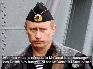 """Vladimir Putin, """"tekstet"""" av yours truly, i anledning høstens svenske ubåttildragelse."""