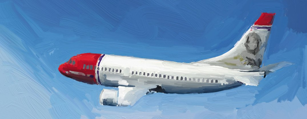 Norwegian-maskin i lufta. Bloggerens eget bilde. fly airplane aircraft