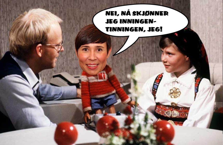 Ine Marie Eriksen Søreide i Titten Teis kropp, manipulert av blogger.