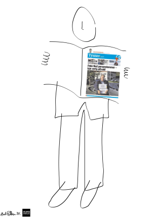 Lokalavis-leser. Bloggers egen illustrasjon.