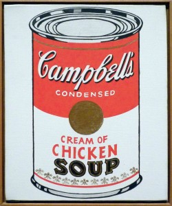 Andy Warhol's ikoniske kyllingsuppe, malt i 1962.