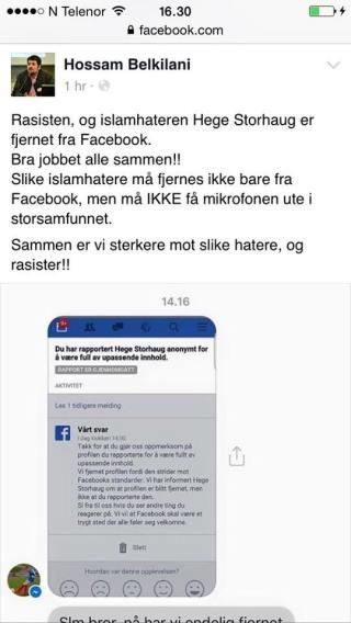 Facebook-melding fra Hossam Belkilani tirsdag kveld.