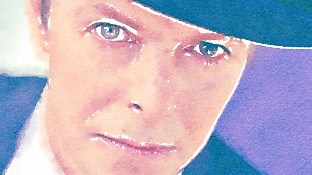 David Bowie (1947–2016). Blogger's own watercolour painting, made with Waterlogue.