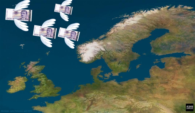 Pengene flyr. Bloggers egen montasje, basert på kart fra Cliparts.co