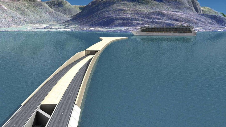 En fergefri E39 langs vestlandskysten, er blant annet tenkt løst med flytende undervannstunnel over Bjørnefjorden, som ville forbinde denne bloggerens kommune med bergenshalvøyen. Illustrasjon fra Statens vegvesen.
