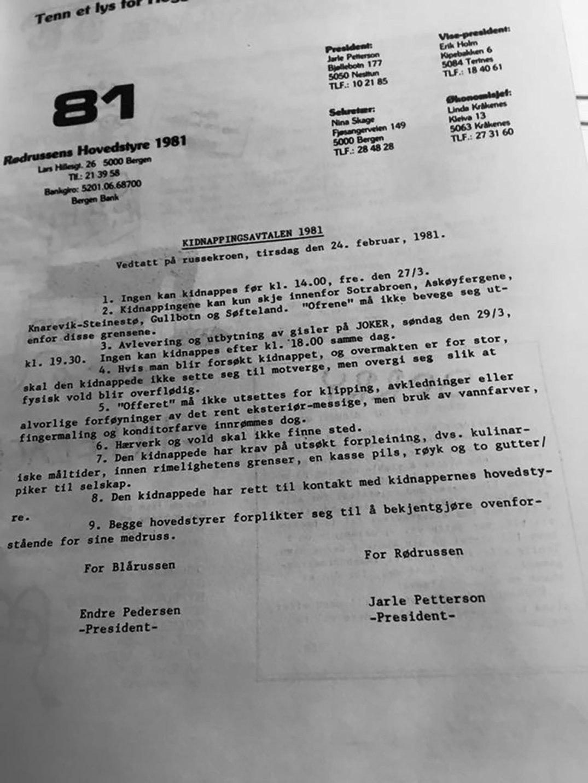 Kidnappingsavtalen mellem blårussen og rødrussen i bergensregionen 1981. Ført i penn av herværende blogger.