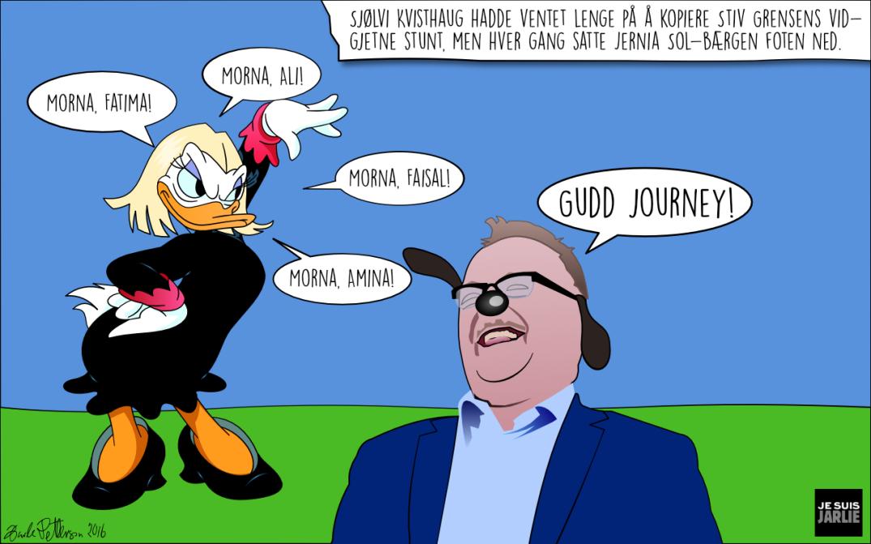 Sjølvi Kvisthaug ønsker flyktningene vel hjem. Bloggers illustrasjon.