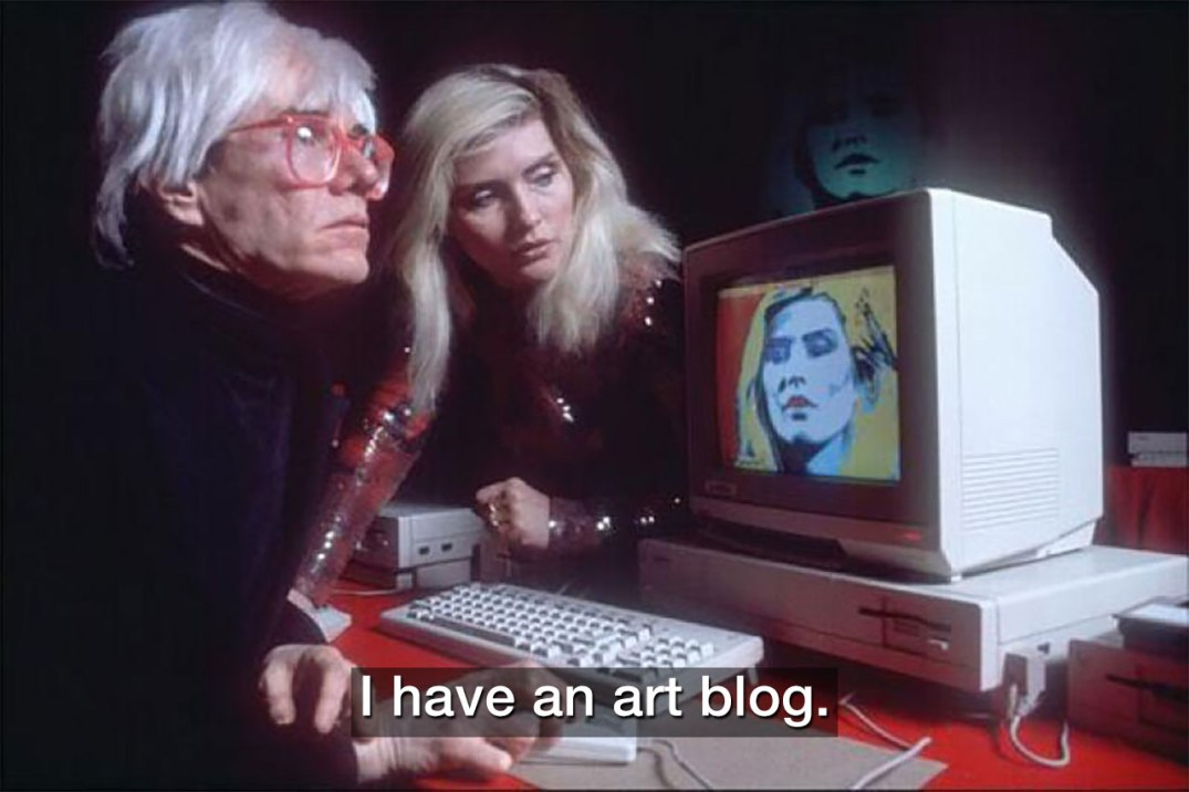 Andy Warhol, Debbie Harry, an art blog and an Amiga 1000. Text added by blogger.