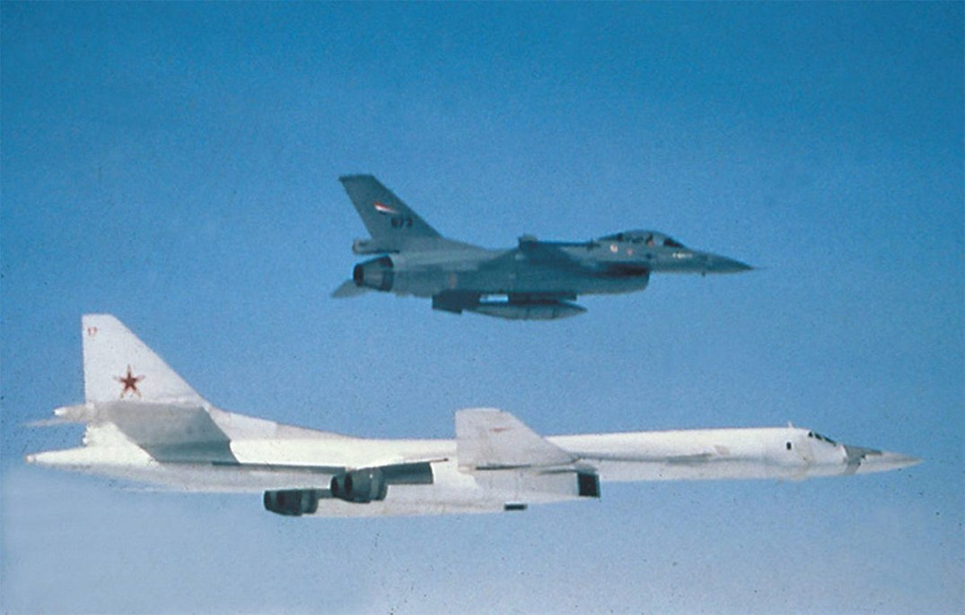 Norwegian F16 fighter intercepting a Russian Tupolev TU-160. Photograph: Norwegian armed forces.