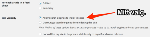 Nettavisene kam, som jeg, selv velge om søkemotorene skal indeksere sakene deres (skjermdump fra denne bloggens administrasjons-grensesnitt).