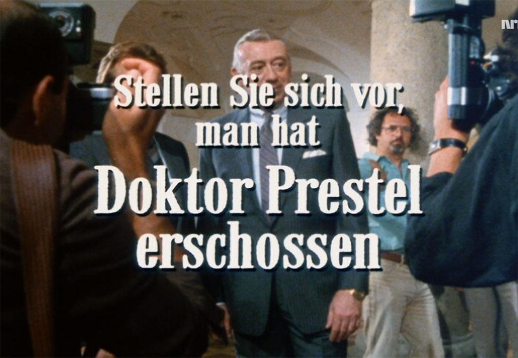 Man hat Doktor Prestel erschossen. Skjermdump fra NRK2.
