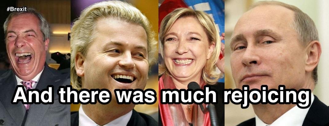 Nigel Farage, Geert Wilders, Marine Le Pen and Vladimir Putin. Blogger's montage.