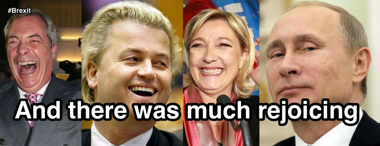 Nigel Farage, Geert Wilders, Marine Le Pen og Vladimir Putin. Bloggers montasje.