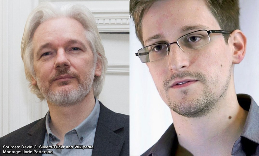 Julian Assange and Edward Snowden. Source: David G. Silvers/Flickr and Wikipedia. Montage: Jarle Petterson