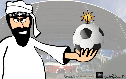 An ISIL terrorist in front of the Stade de France. Bloggers own drawing, superimposed on stolen photograph (the football is stolen, too, except for the burning fuse).