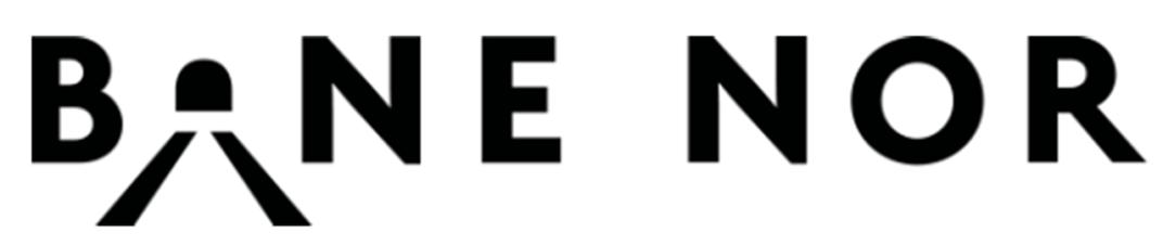 Bane NOR SFs nye navn og logo, utarbeidet av Scandinavian Design Group.