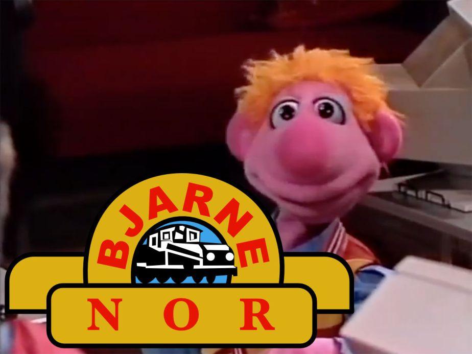 Bjarne Betjent med Bjarne NOR-logo. Bloggers illustrasjon.