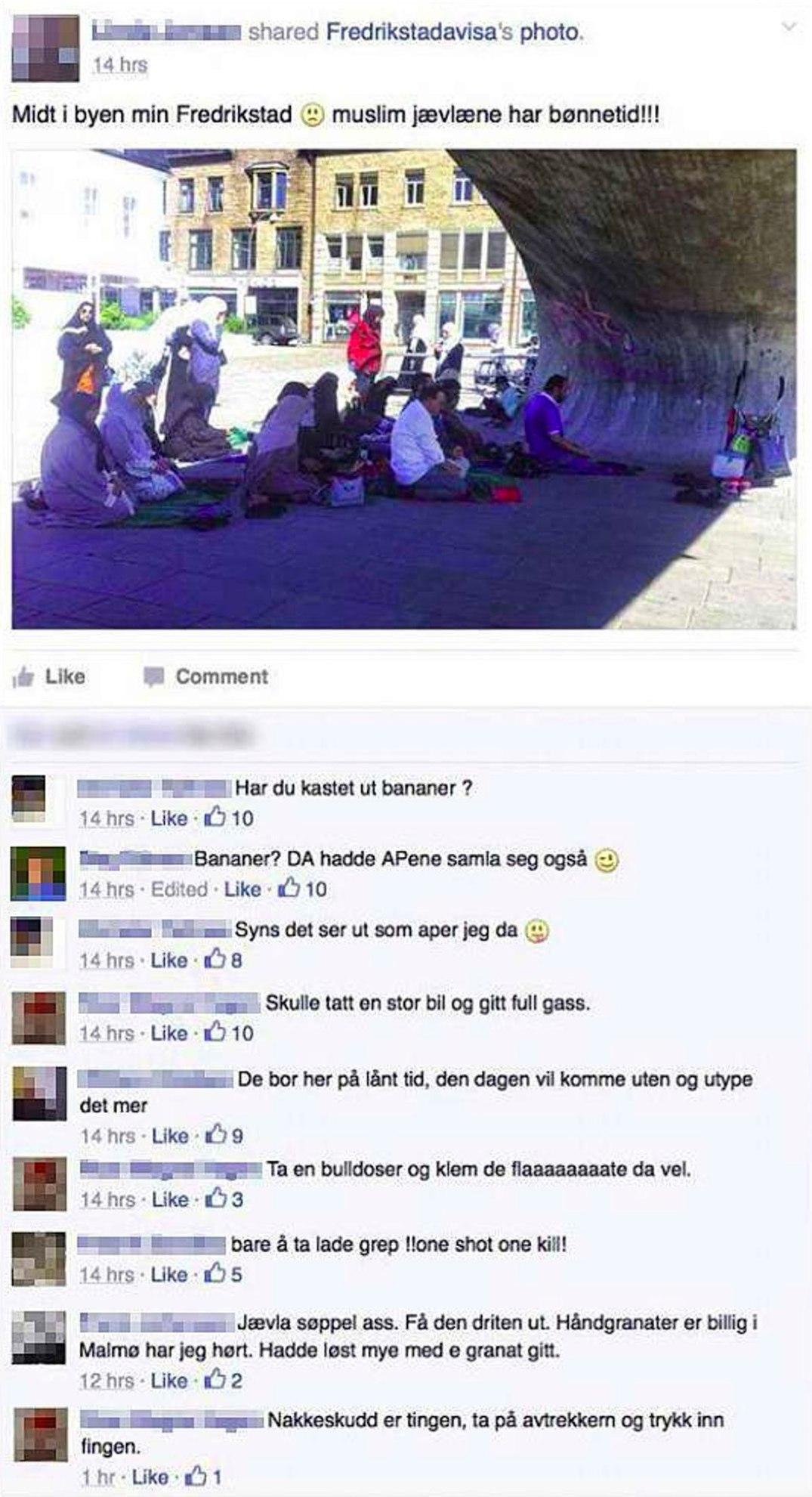 Rasisme i fri dressur (faksimile fra Facebook). Facebook Rasisme