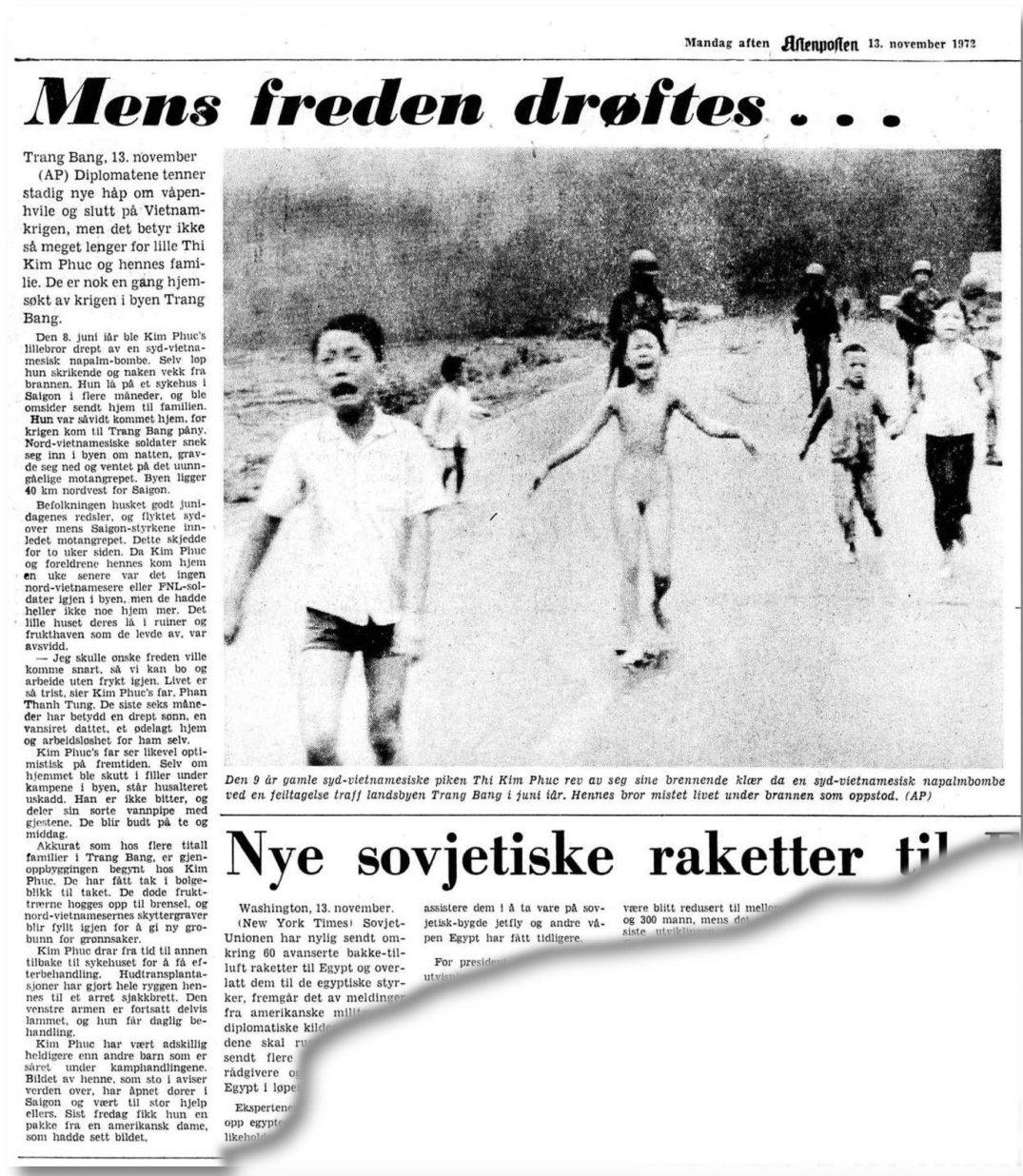 Aftenposten, aftenutgaven mandag 13. november 1972.