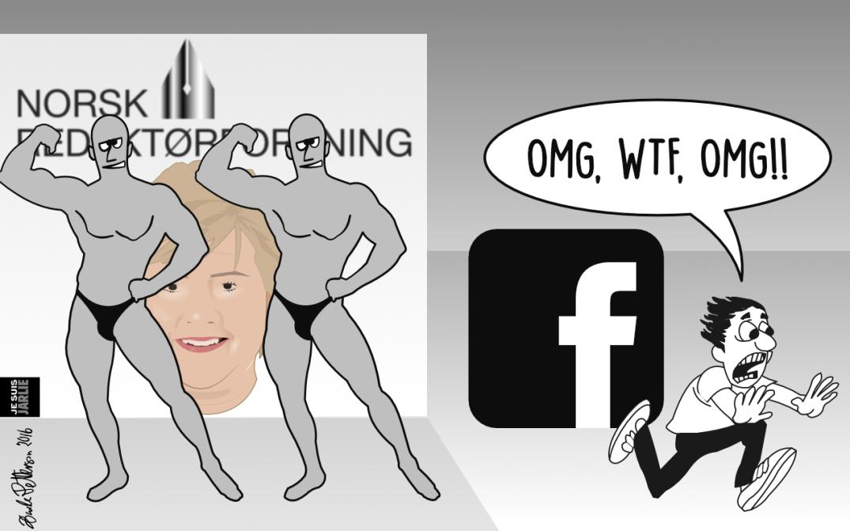 Nettavisen og Aftenposten måler krefter med Facebook. Bloggers tegning.