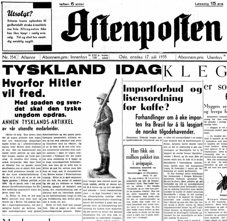 Aftenposten, onsdag 17. juli 1935.