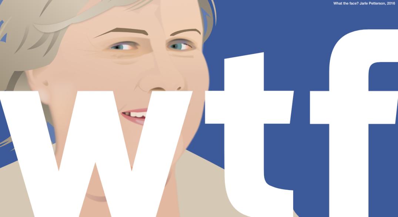 WHAT THE FACE: Statsminister Erna Solberg (H) tok opp kampen med Facebook. Bloggers illustrasjon.