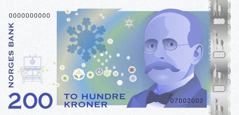 200 kroner-seddel, tegnet av blogger.
