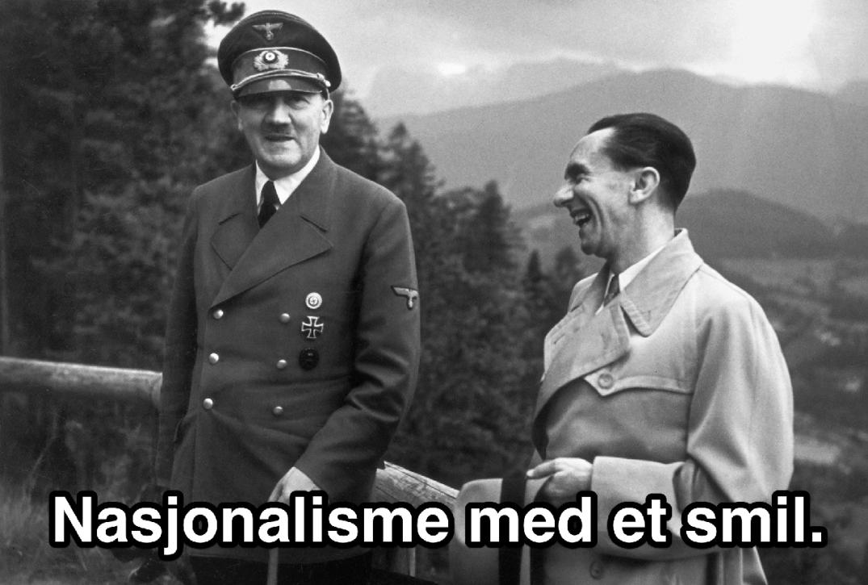 Adolf Hitler og Joseph Goebbels i munter passiar.