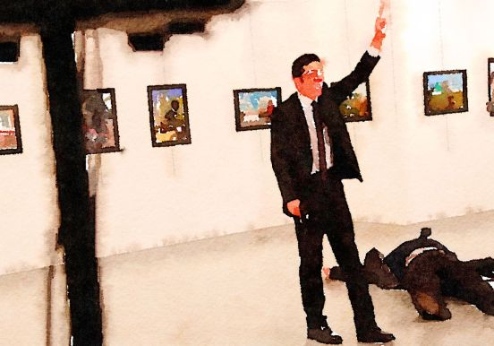 22-year-old policeman Melvut Mert Altintas upon shooting Russian ambassador Andrey Karlov in Ankara on 19 December 2016. Blogger's illustration, made with Waterlogue app.