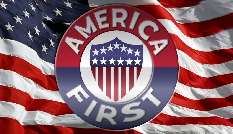 America first. U.S. flag.