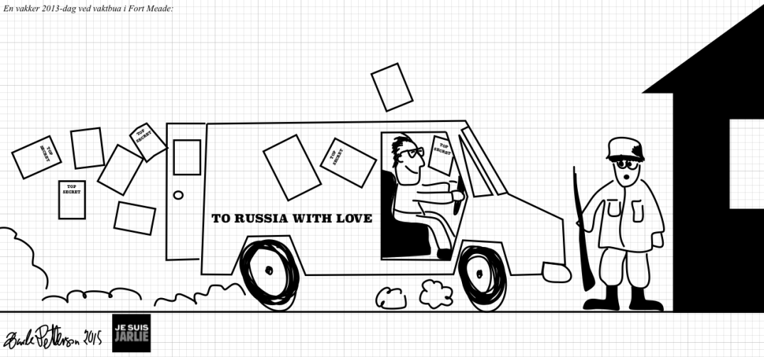 Edward Snowden leaving Fort Meade, en route to Kremlin with a huge pile of secret U.S. documents. Blogger's own drawing.