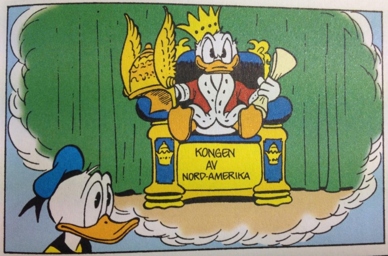 Donald, konge av Nord-Amerika. Carl Barks, 1952.