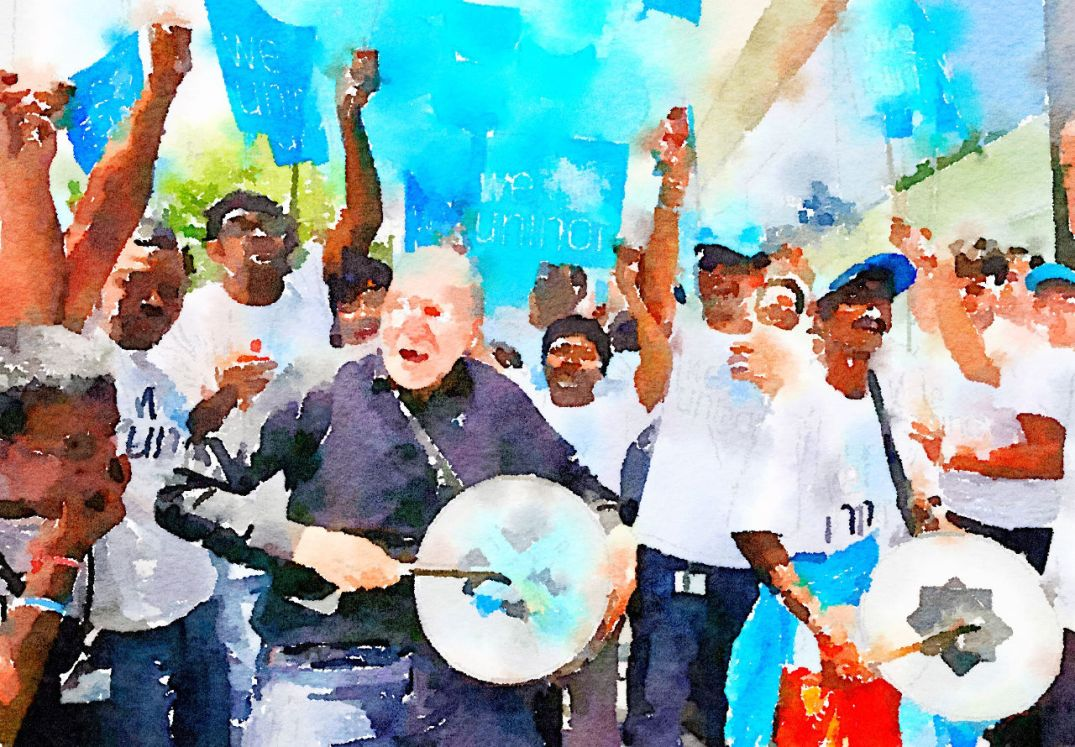 Telenor CEO Sigve Brekke dancing in the streets of Hyderabad. Blogger's watercolour, by way of Waterlogue.