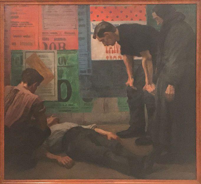 """Accident on the Building Site"" (1909), Karel Myslbek. Oil on canvas."