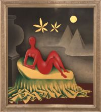 """Cleopatra"" (1942–1957), Jan Zrzavý. Tempera, gold leaf and wood."