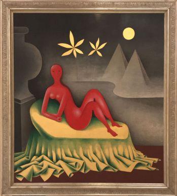 """Cleopatra"" (1942–1957), Jan Zrzavý. Tempera, gold leaf and wood."