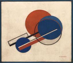 """Composition II"" (second half of the 1920s), František Matoušek. Oil on canvas, frame by artist."